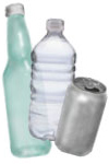 Glass bottle, plastic bottle, aluminum can