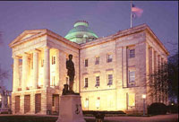 A night view of North Carolina's Capitol